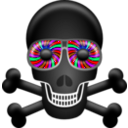 download Skull clipart image with 315 hue color