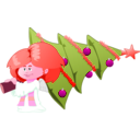 download Christmas Tree Carrying Angel clipart image with 315 hue color