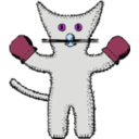 download Kitten With Mittens clipart image with 225 hue color