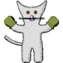 download Kitten With Mittens clipart image with 315 hue color