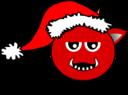 Little Red Devil Head Cartoon With Santa Claus Hat