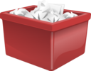 Red Plastic Box Filled With Paper