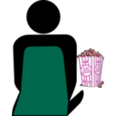 download Cinema 2 Person With Popcorn clipart image with 315 hue color