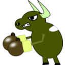 download Fighting Cow clipart image with 45 hue color