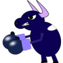 download Fighting Cow clipart image with 225 hue color