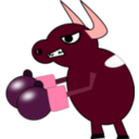 download Fighting Cow clipart image with 315 hue color