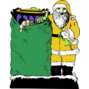 download Santa And His Bag clipart image with 45 hue color