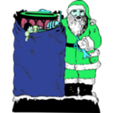download Santa And His Bag clipart image with 135 hue color