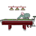 download Pool Table With Player clipart image with 315 hue color