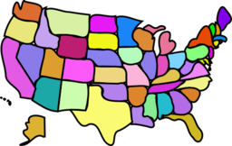 U S Map Cartoony