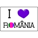 download I Love Romania clipart image with 270 hue color
