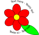 Flower Six Red Petals Black Outline Green Leaf With Upper And Lower Text