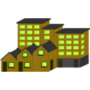 download Appartment Buildings And Town Houses clipart image with 45 hue color