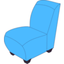 download Blue Armless Chair clipart image with 315 hue color