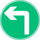 download Roadsign Turn Ahead clipart image with 315 hue color