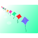 download Row Of Kites clipart image with 315 hue color